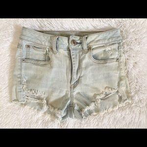Light Wash American Eagle Hi-rise Ripped Shorts